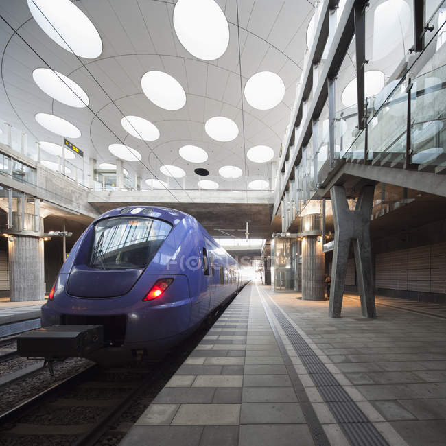 Illuminated train station interior, sweden — Stock Photo