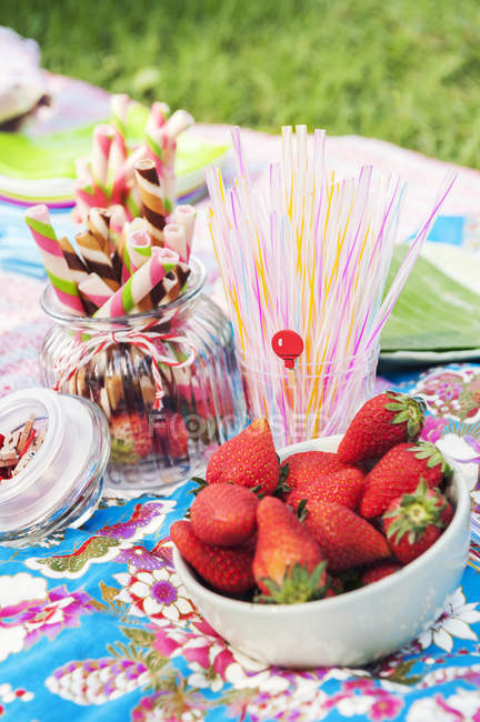Strawberries at birthday picnic, soft focus background — Stock Photo