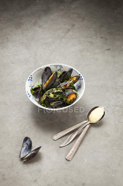 Mussels in bowl with spoons and napkin on grey background — Stock Photo
