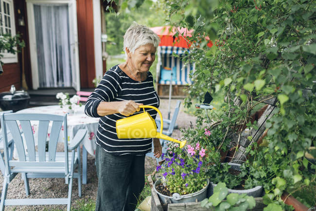 Senior woman watering garden, focus on foreground — Stock Photo