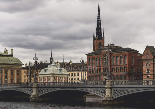Bridge under overcast sky in Stockholm, Sweden — Stock Photo