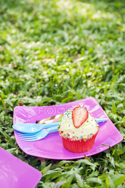 Strawberry cupcake at birthday picnic, soft focus background — Stock Photo
