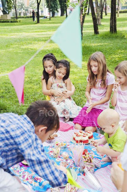 Children at birthday picnic, selective focus — Foto stock