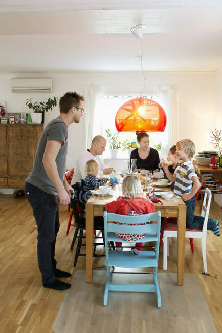 Family having dinner together at home — Stock Photo