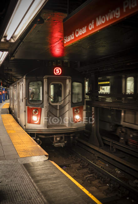 Train in subway station, selective focus — Foto stock