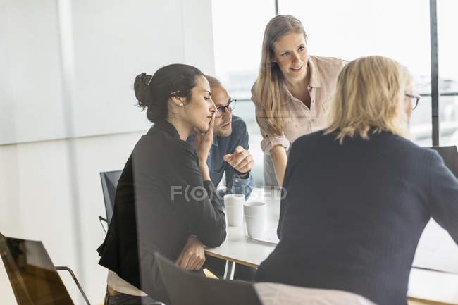 Businesspeople during meeting, selective focus — Stock Photo