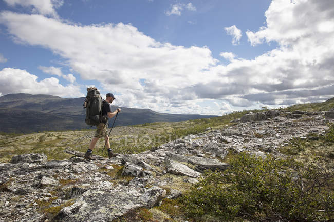 Man hiking in Rondane National Park, Norway — стокове фото