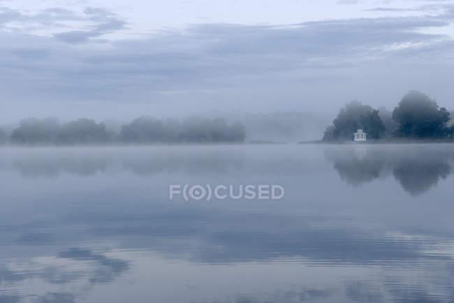 Ранковий туман над озером. — стокове фото