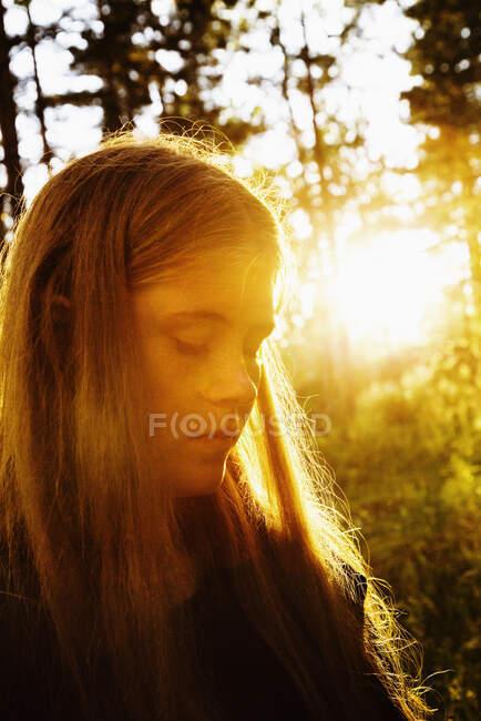 Портрет красивой застенчивой молодой женщины в лесу на закате — стоковое фото