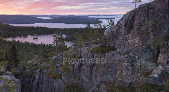 Cliffs and forest by Baltic Sea at sunset in Skuleskogen National Park, Suécia — Fotografia de Stock