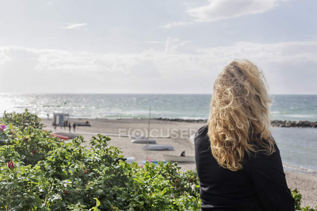 Rear view of woman by beach — стоковое фото