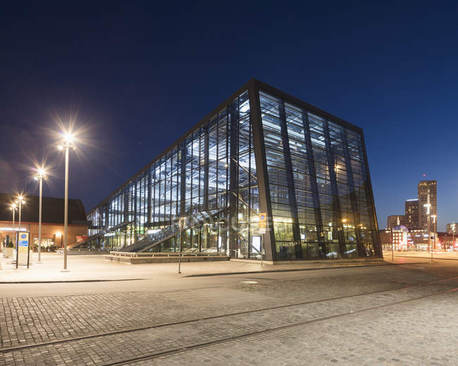 Malmo Central Station in Sweden at night — Stock Photo