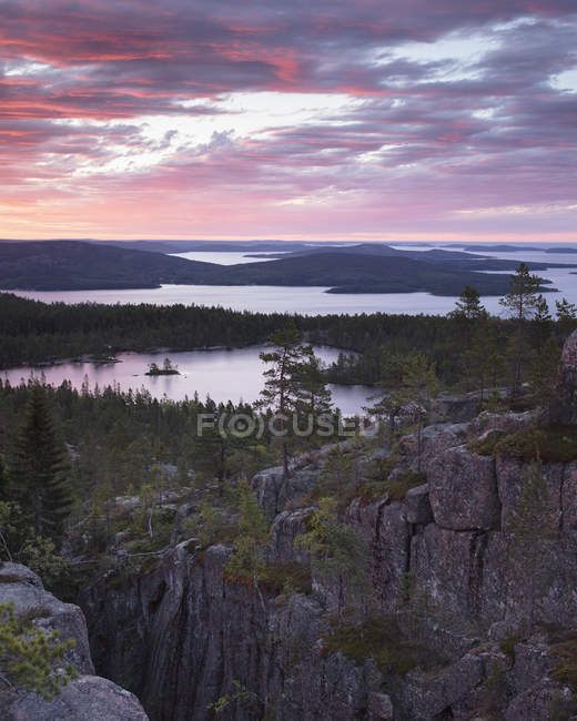 Cliffs and forest by Baltic Sea at sunset in Skuleskogen National Park, Sweden — Stock Photo