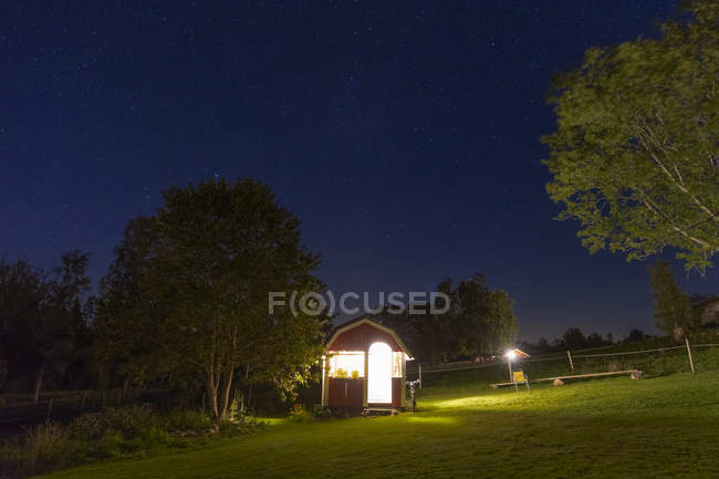 Shed at night, selective focus — Stock Photo