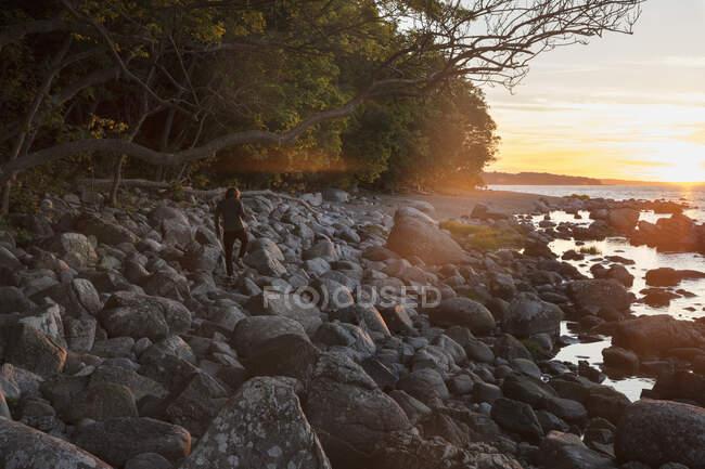 Homem andando sobre pedras ao pôr do sol, vista traseira — Fotografia de Stock