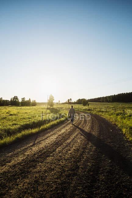 Фермери йдуть сільською дорогою. — стокове фото