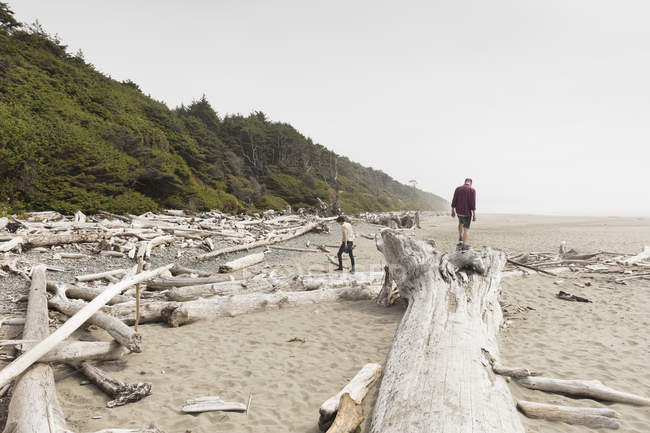Men on driftwood on beach, selective focus — Stock Photo