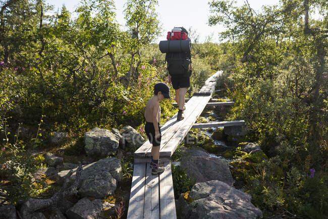 Randonnée avec la mère et le fils sur un pont en bois dans le parc national de Fulufjallet, Suède — Photo de stock