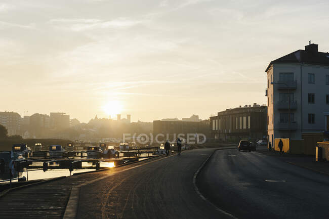 Lungomare al tramonto a Karlskrona, Svezia — Foto stock