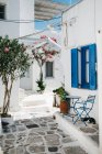 Scenic view of architecture on street of Paros, Aegean Sea, Cyclades, Greece — Stock Photo