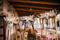 Vista close-up de polvos secos na corda ao ar livre — Fotografia de Stock