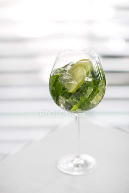 Primo piano vista della bevanda ghiacciata con foglie di menta e fette di lime in vetro su superficie bianca — Foto stock