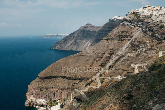 Scenic view of mountains in majestic Santorini, South Aegean, Thira, Santorini, Greece — Stock Photo