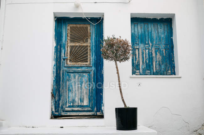 Facade of white building with blue door and shutters in rustic style — Stock Photo