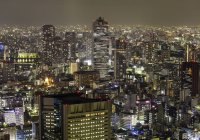 Skyscrapers at Tokyo, Japan, night shot — Stock Photo