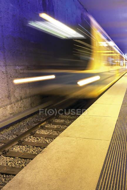 Subway station, moving train, movement — Stock Photo