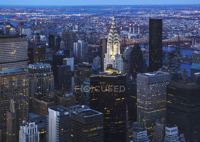 Vista sobre Manhattan com o Chrysler Building, Nova Iorque, EUA — Fotografia de Stock