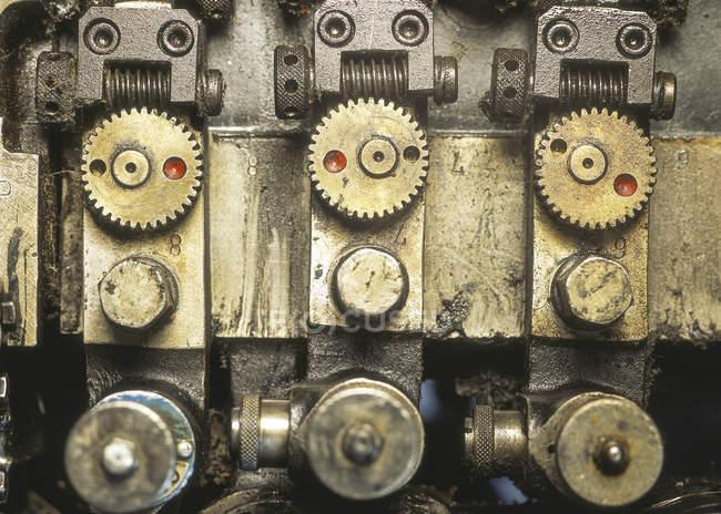 Detalhe da máquina na imprensa — Fotografia de Stock