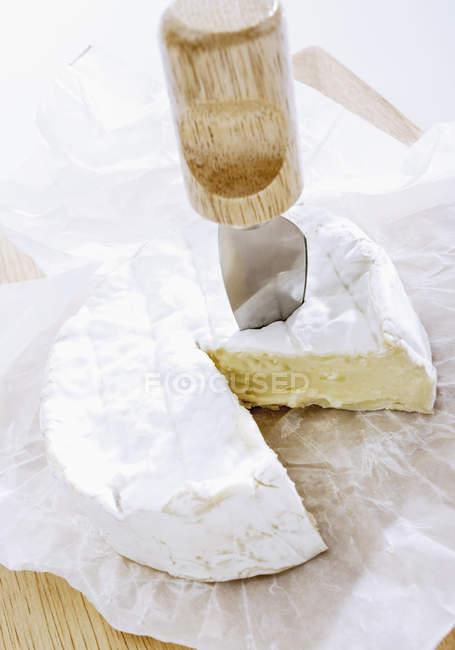 Сыр камамбер с ножом на деревянные поверхности — стоковое фото
