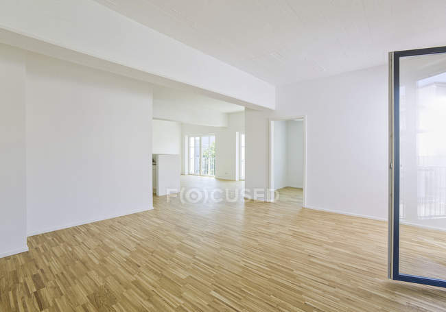 Spacious living room with parquet floor — Stock Photo