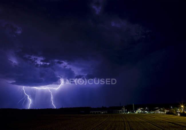 Thunderstorm lightning in the night sky — Stock Photo