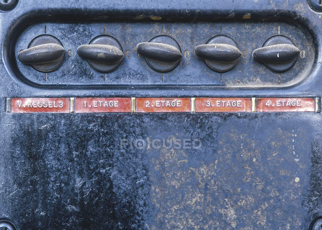 Switch buttons on old machinery — Stock Photo