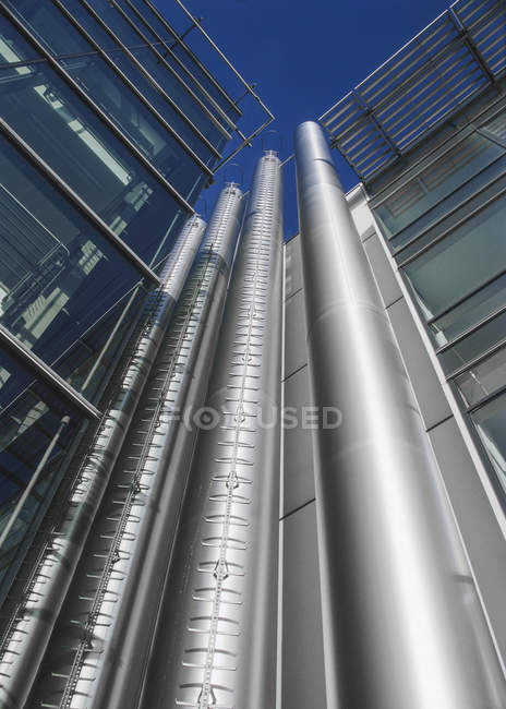 Ventilation pipes on a modern facade — Stock Photo