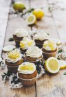 Lemon poppy seed cupcakes with lemon curd — Stock Photo