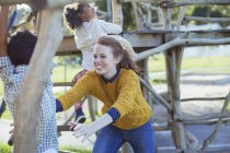 Student and teacher playing outdoors — Stock Photo
