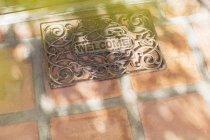 Сонце світить через гілки дерев на Ласкаво просимо мат — стокове фото