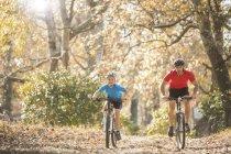 VTT père et fils sur le sentier dans les bois — Photo de stock