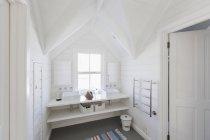 Роскошный белый ванной раковины в ванной комнате со сводчатым потолком — стоковое фото