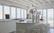 Vista all'interno della casa moderna di lusso cucina — Foto stock