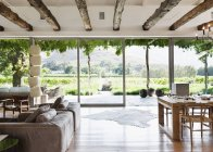 Открыть план этажа в роскошный дом с видом на виноградник — стоковое фото