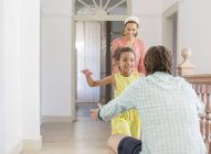 Father and daughter embracing in living space — Stock Photo