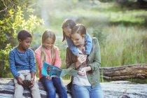 Étudiants et enseignants lecture carte en forêt — Photo de stock