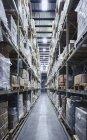 Boîtes en carton empilés sur des étagères dans l'entrepôt de distribution de marchandises — Photo de stock