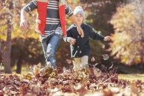 Vista cênica de meninos correndo em folhas de outono — Fotografia de Stock