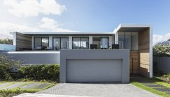 Modern home showcase exterior house with garage — Stock Photo