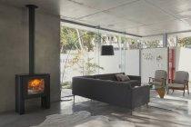 Accueil vitrine intérieur salle de séjour avec cheminée à bois — Photo de stock